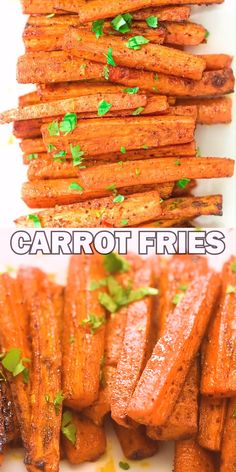 These simple Baked Carrot Fries make a healthy and tasty alternative to potato fries. Colorful and soft, it's impossible to stop eating them! Carrot Recipes, Vegetable Recipes, Soup Recipes, Vegetarian Recipes, Cooking Recipes, Healthy Recipes, Vegetable Snacks, Fried Vegetables, Healthy Vegetables