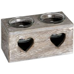 Heart Cutout 2 Tea Light Holder - Candle Accessory Home Lighting Love Décor