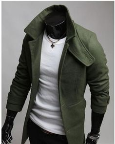 Solid Single Breasted Wool Blend Long Sleeve Winter Men Coat