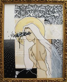 large portrait painting. modern icon.  our lady of by ancagray, $500.00