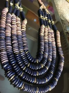 Chicos Bold Beads Navy Purple & Lavender Statement Necklace Perfect!  | eBay