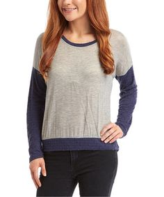 This Gray & Navy Textured Long-Sleeve Top is perfect! #zulilyfinds