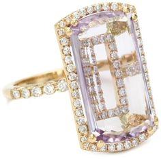 "Suzanne Kalan ""Vitrine"" Rose De France and Diamond Bezel Ring"
