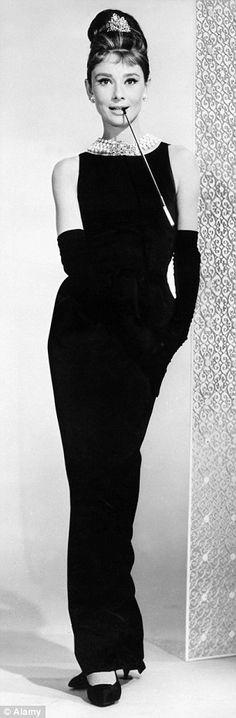 Classic beauty: Felicity Jones (left) was reminiscent of screen siren Audrey Hepburn (right) in her elegant black gown with its beaded collar