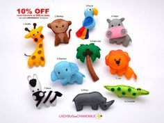 SAFARI ANIMALS felt magnets - Price per 1 item - make your own set - Giraffe, Lion, Hippo, Elephant, Zebra, Monkey, Crocodile