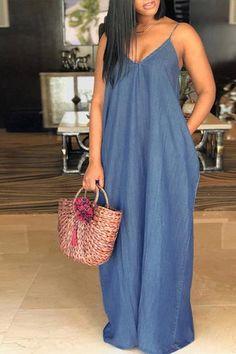 Details  Material  Denim Style  Fashion Sleeve Length  Sleeveless Neckline   V Neck Dresses Length  Floor length Silhouette  A Line SIZE(IN) US Bust  Length ... 03c3cd4e8c3df