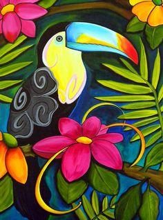 Passaro pinturas en 2019 Peacock art Colorful drawings y Bird art Arte Pop, Tropical Art, Tropical Colors, Bright Colors, Colours, Bird Art, Painting Inspiration, Painting & Drawing, Parrot Painting