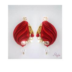 """shibori silk earrings """"Valentine's Day"""" -Preciosa crystals and pearls https://www.facebook.com/rejegioielliinsoutache www.rejesoutache.com"""