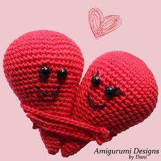 Valentijns knuffelharten patroon (gratis) – Amigurumi Designs by Dani Crochet Baby Toys, Crochet Wool, Cute Crochet, Crochet Hats, Knitted Doll Patterns, Knitted Dolls, Crochet Patterns Amigurumi, Valentine's Day Diy, Valentines Diy
