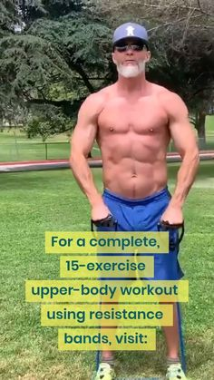 Resistance Band Torso Workout Sculpt your torso! This particular workout is pretty fun, and it produces results. Here are 15 exercises for an upper-body workout using resistance bands. Over 50 Fitness, Fitness Gym, Sport Fitness, Body Fitness, Mens Fitness, Home Workout Men, Gym Workout Tips, Workout Videos, At Home Workouts