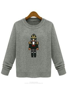Light Grey Cartoon Embroideryn Sequin Wool Blend Sweater
