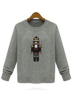 Light Grey Cartoon Embroideryn Sequin Wool Blend Sweater