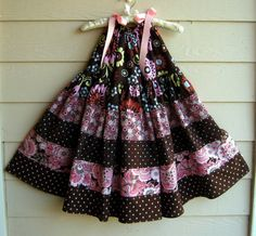 Twirl Pillowcase Dress in  Chocolate and Pink by fairiewings, $40.00