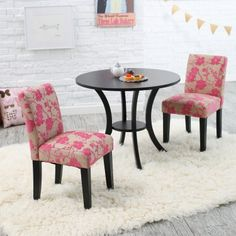 Classic Playtime Plum Garden Pedestal Table and Parsons Chairs Set
