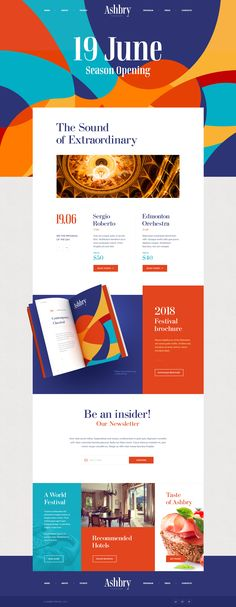 Ashbry Music Festival – Ui design concept and visual identity by Mike Website Design Inspiration, Blog Design, Ui Design, Layout Design, Branding Design, Graphic Design, Sketch Design, Website Layout, Web Layout