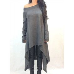 Stylish Skew Neck Long Sleeve Gray Asymmetrical Women's Dress