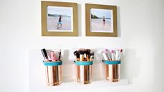 Say goodbye to messy counters and give your makeup a proper new home. Make your own DIY makeup organizer with these insanely cool ideas! Diy Makeup Storage, Diy Storage, Makeup Organization, Bathroom Organization, Storage Ideas, Storage Organizers, Cool Diy, Easy Diy, Fun Diy