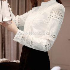 Encontrar Más Blusas y Camisas Información acerca de Plus Size 2015 moda mujeres Hollow Patchwork OL camisa de encaje de manga larga OL Tops cuello redondo Floral Casual blusa blanca, alta calidad camisa blusa, China blusas blusa Proveedores, barato blusa de seda de Super Hot Clothes en Aliexpress.com