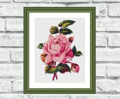 """Modern, elegant, vibrant and cheerful still life/flower pattern of """"Single Rose"""". These patterns look especially attractive when viewed from a distance and so easy to stitch! Perfect for any room in your home including living rooms, kids rooms, offices and bedrooms. 6,99$"""