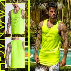 The Neon fashion trend seems to be here to stay! Check out this amazing Neon Yellow Silver Sunrise Vest, perfect for Neon Lovers! Find it quickly by clicking here! Neon Yellow, Sik Silk, Street Wear, Funchal, Two Brothers, Streetwear Fashion, Mens Fashion, Fashion Trends, Tank Man