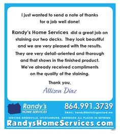 Randy's Home Services 864-991-3739 randy@getuorganized.me www.randynelson.info  Serving Greenville, Spartanburg, Anderson and all places in between.