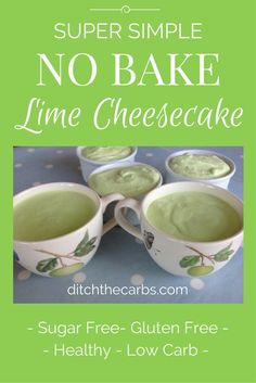 Seriously you have to try this sugar free and low carb No Bake Lime Cheesecake. Also gluten free and one your children can make themselves. #sugarfree #lchf #glutenfree   ditchthecarbs.com