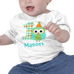 Customizable Owl Boy First Birthday Shirt For A One Year Old Boys