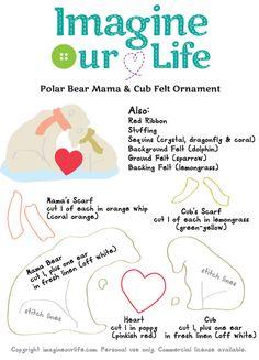 Polar Family Felt Ornament Patterns - Penguins & Polar Bears