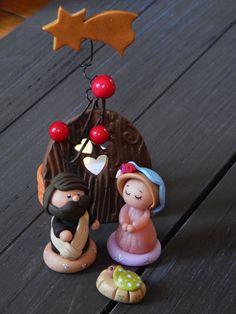 Scène de la Nativité ° crèche ° Joseph ° Marie ° Jésus ° Noël ° pâte polymère fimo : Accessoires de maison par lufiole