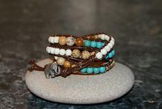Lucky Elephant Turquoise 4 x Wrap Leather Bracelet by fizzscott, £55.00