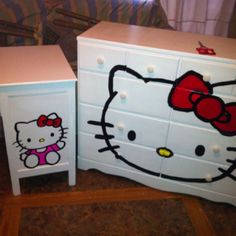 Refinished dresser as Hello Kitty  I want this ! ! !