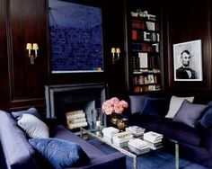 Designer Victoria Hagan created a sophisticated, brooding look for this handsome library in a historic townhouse on Manhattan's Upper East Side.