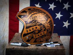 (Americana - Vintage Biker Helmet by Derrick Castle) motorcycles, rider, ride, bike, bikes, speed, cafe racer, cafe racers, open road, motorbikes, motorbike, sportster, cycles, cycle, standard, sport, standard naked, hogs, hog #motorcycles