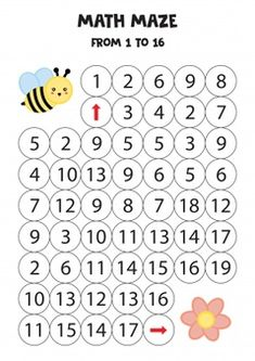 Cartoon Bee, Cartoon Elephant, Cute Cartoon, Maze Games For Kids, Mazes For Kids, Bee On Flower, Learning Numbers, Mini Games, Creative Kids