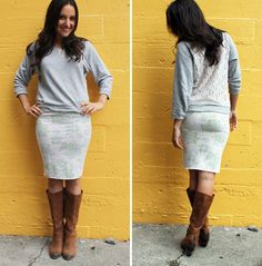 5 Ways to Turn Old Hoodies into Hip New Threads | Brit + Co. - this sweatshirt pencil skirt is SO easy.
