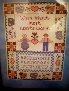 "Warm Hearts Counted Cross Stitch Sampler Kit ... When friends meet, hearts warm ... Fits Frame 11"" x 14"" or 12"" x 16"" with mat Paragon,http://www.amazon.com/dp/B007GG2Z3Q/ref=cm_sw_r_pi_dp_tEeYsb0A9VXEFGQJ"