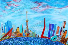 Rotterdam Skyline, Rotterdam Netherlands, Fantasy, Print Patterns, Outdoor Decor, Prints, Postcards, Quotes, Products