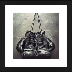 Boxing Gloves Framed Print, Black, Contemporary, Black, White, Single piece, 12 x 12 inches, White