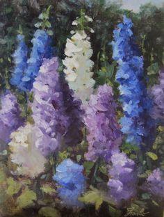 "Oil Painting by Artist Pat Fiorello -  available on ""Art Elevates Life"", http://patfiorello.blogspot.com/2014/06/dance-of-delphiniums.html"