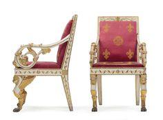 Sei poltrone in legno intagliato, laccato e dorato, Manifattura siciliana, 1830-1840