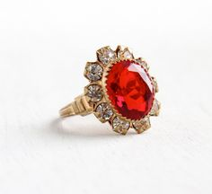 SALE - Vintage Art Deco Simulated Ruby & Rhinestone Cocktail Ring - Size 8 Brass 1940s Floral Cluster Cocktail Jewelry by Maejean Vintage on Etsy, $34.00