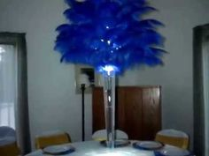 Rent Royal Blue Ostrich Feather Centerpieces by Sweet 16 Candelabras