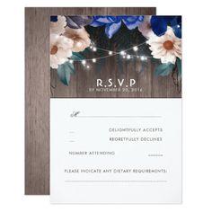 Rustic Floral String Lights Blue Wedding RSVP Card