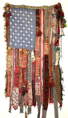 "Saatchi Online Artist: Sara Rahbar; Found Objects, Mixed Media ""Kurdistan/ Flag#5"""