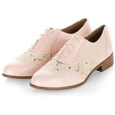 Pale Pink Lace Insert Lace Up Brogues (£20) ❤ liked on Polyvore featuring shoes, oxfords, brogues, flats, laced up flats, lace up shoes, flat shoes, brogue oxford and round toe flats