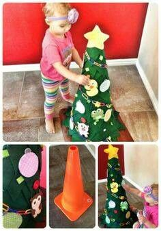Kids Christmas tree! Wrap orange cone in felt and attach ornaments with velcrow! Too cute!