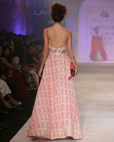 Long Ivory Dress with Coral Taj Print- Buy Dresses,Anju Modi,Anju Modi Lakme '14 Online | Exclusively.in