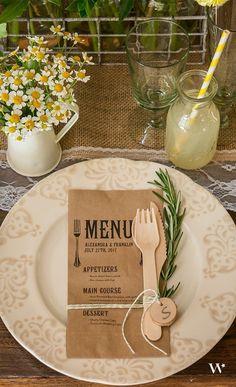 Eco friendly kraft paper wedding menu / http://www.himisspuff.com/kraft-paper-wedding-decor-ideas/4/