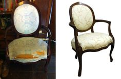 Before and After:  Wood Refinished and Reupholstered