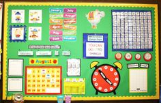 """She created the money anchor charts in the picture above. Click here to download.  She gives links for purchased items in her calendar center. Nice close ups and explanations about the center.  I use books from Amazon from the """"Every Day Counts"""" series.  You can purchase the components or make your own like I did. Calendar Bulletin Boards, Calendar Board, Calendar Time, School Calendar, Calendar Ideas, Morning Calendar, Classroom Calendar, Wall Calender, Calendar Numbers"""